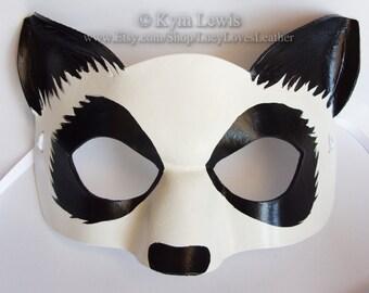 Panda Mask, Animal Masquerade, Made to Order, Black and White, Giant Panda, Masked Ball, Fursona Mask, Panda Furry Mask