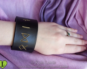 Odin Rune Bracelet, Black Leather, Wrist Cuff, Black and Gold, Norse Rune Carving, Leather Bracelet, Runic Letters, Odin Cosplay, Norse God