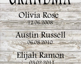 Personalized My Greatest Blessings Call Me Grandma Wood Sign, Canvas Art - Mother's Day Gift