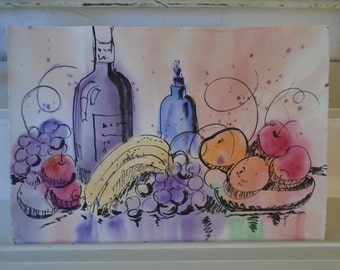 Fun Fruit and Wine Watercolor Painting