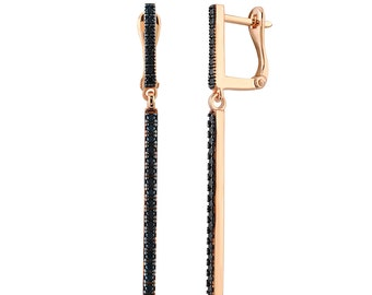 Modern and Chic Line Earrings with Black Spinels