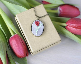 Declaration of Love - Red Tulip - Embroidered Pendant Necklace Victorian Language of Flowers