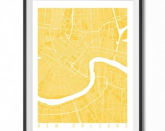 NEW ORLEANS Map Art Print / Louisiana Poster / New Orleans Wall Art Decor / Choose Size and Color