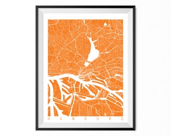HAMBURG Map Art Print / Germany Poster / Hamburg Wall Art Decor / Choose Size and Color