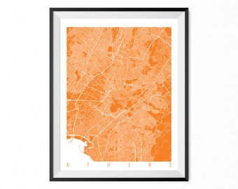 Athens Print Art / Athens Map Art Greece Poster Wall Art / Line Art / Choose Size and Color