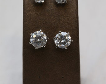 Sterling Silver CZ clasp set earrings, Rhodium plated