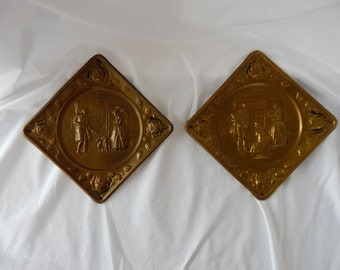 Vintage Pair of Brass English Colonial Wall Hangings - Made by Elpec - Handmade in England for World Gift