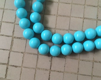 "16"" Turquoise Blue Color Shell Pearl 16MM Round Beads"