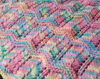 Pink, Yellow & Blue Colorful Afghan