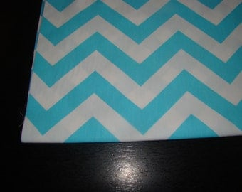 Beautiful Wedding Table Runner in Aqua Blue and White Chevron, Custom sizes available
