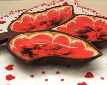 Treasure Craft Pottery Orange Red and Brown Divided Leaf Relish Tray Dish