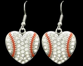 Baseball Heart Shaped Rhinestone Earrings