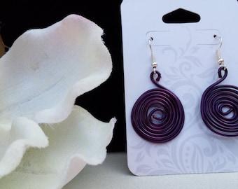 Handmade Purple Swirl Earrings