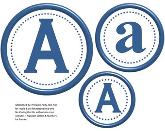 6 Inch Circle Blue Printable Banner Letters