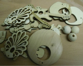 Mixed Woodcraft Shapes Instruments Beads Bottins Butterfly Flowers Multi Uses