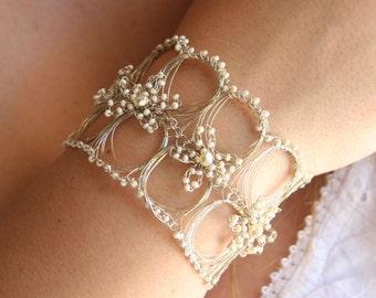 Timeless -  Metal Lace - Crocheted Wire - Beaded Bracelet