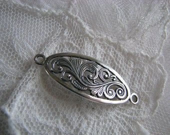 Swirly Paisley Sterling Silver Oval Focal Link ~ 39mm X 14mm