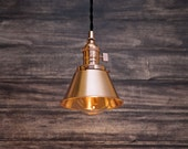 Copper 5-3/8'' Cone Shade Industrial Hanging Pendant Light Fixture Rustic Vintage Retro
