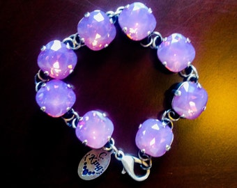 12mm Cyclamen Opal Swarovski® bracelet in Antique Silver