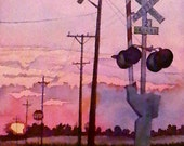 Water Color : Train Tracks Watercolor Print. Pink Sunset painting. Railroad tracks. Train wall art. Train picture. Nebraska painting.