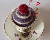 Vintage teacup cherry cake pincushion
