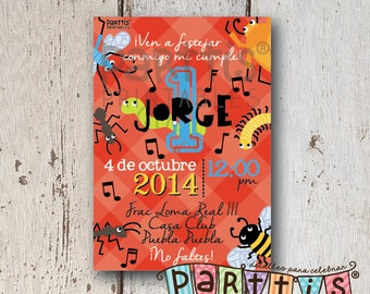 Printable invitation party bugs