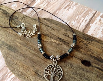 Boho, Leather Beaded Necklace, Zen, CHOOSE your CHARM, Silver, Black, Grey,  Charm Necklace