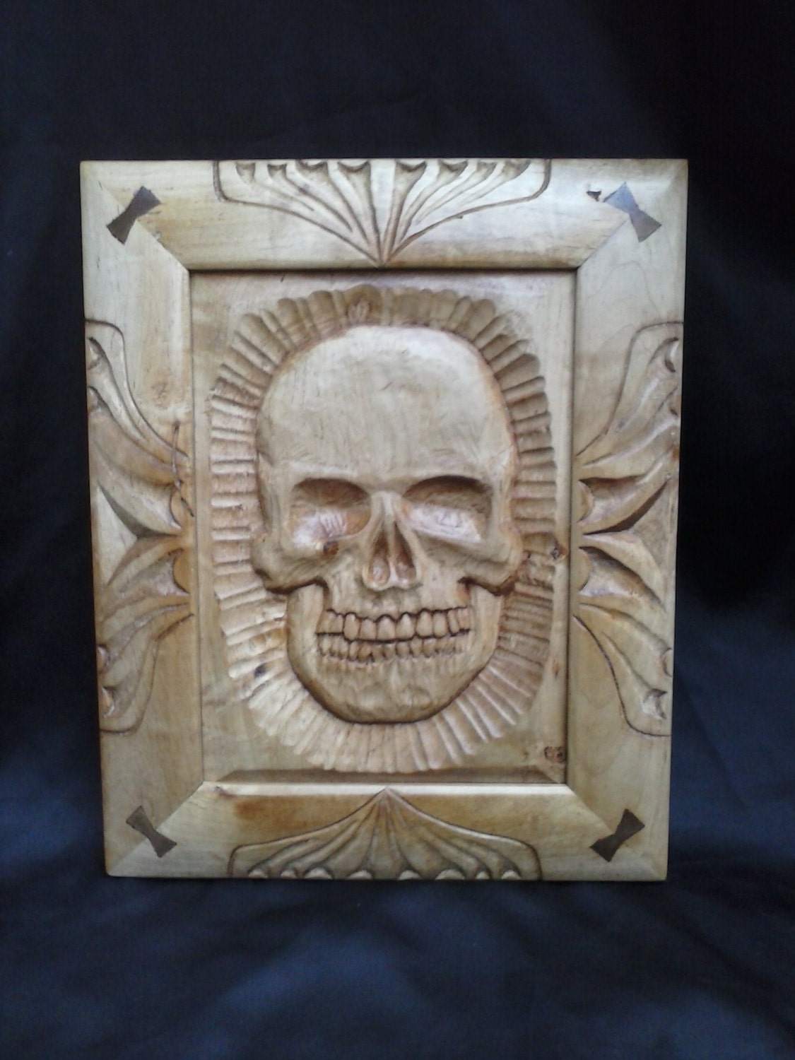 Hand carved wall hanging red maple wood skull walnut