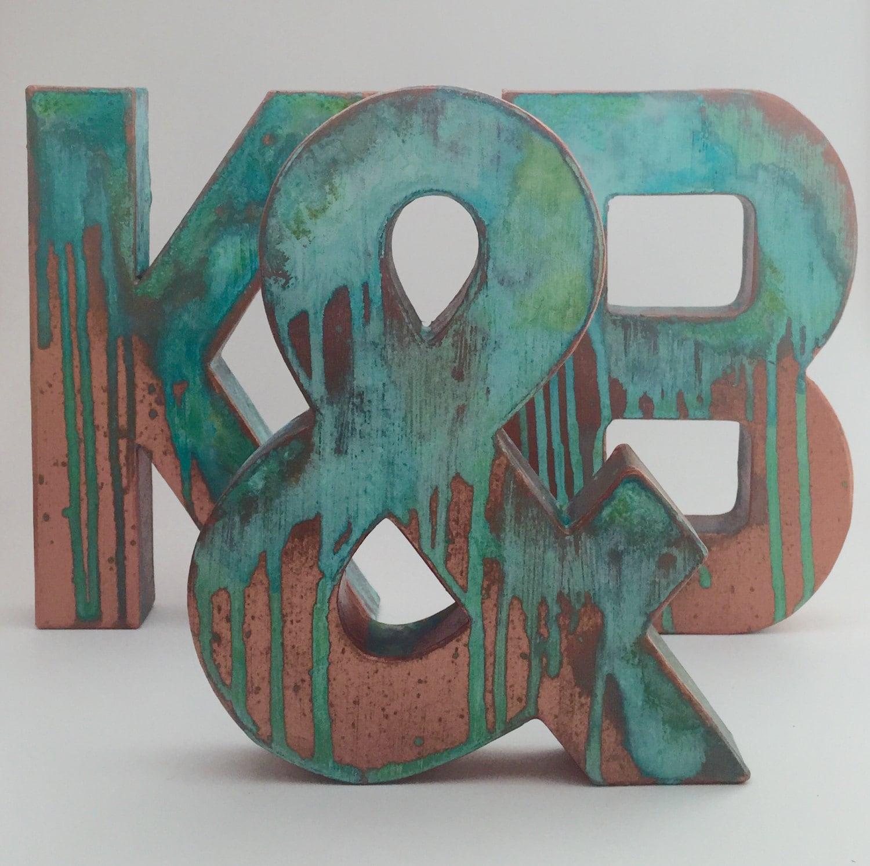 Faux metal letters antique copper metal antique patina for Antique letters