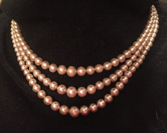 Vintage Triple Strand Three Strand Glass Pearl Necklace Classic Necklace  Cream Pearls M-018