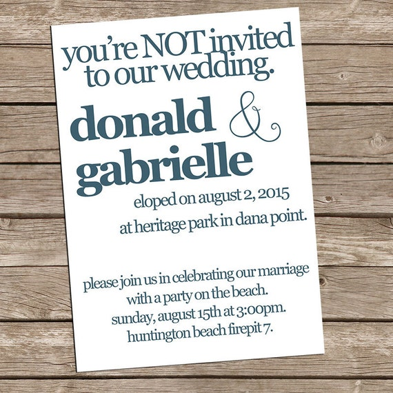 Reception Invitations After Eloping with best invitation sample