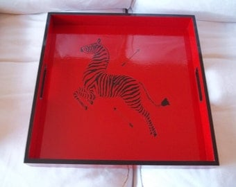 "Hand Painted Scalamandre Zebra Tray 16"" Square"