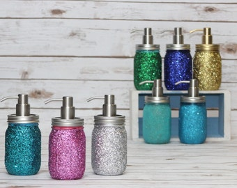 GLITTER Pint Ball Mason Jar Soap Dispenser Home Decor, Housewarming Gift, Gift for her, Shower Gift, Glamour