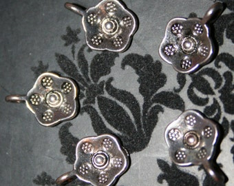 Stamped Flower Charms, Antique Silver finish, flower, stamped charms, jewellery making, jewelry making, jewelry making, UK seller