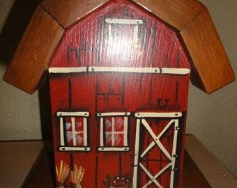 Vintage 1987 Barn Napkin Holder/ Signed