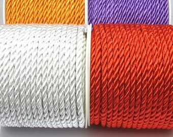 5mm Twisted Rayon Satin Rope Silk Braid Cord,Orange,Purple,Silver,Red 3 meters