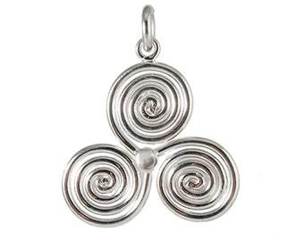 Sterling Silver Triskele Triskelion Triskele Pendant Necklace – Celtic Pendant Necklace TRK028