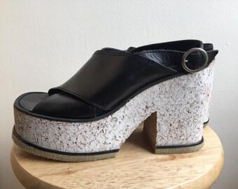 VTG slingback cork platform shoes 8