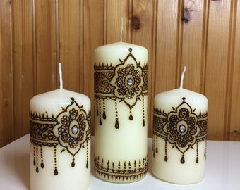 Henna candle set of 3