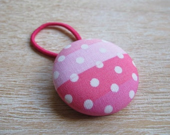 Fabric Covered Button Hair Elastic – Dots