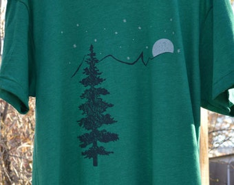 Mountain shirt, screen print on american apparel. free shipping in US size s.