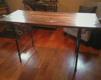 Industrial Desk With Rustic Table Top