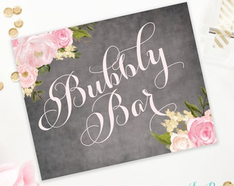 Emily - Bubbly Bar Sign - Chalkboard & Pink Floral - Mimosa/Champagne Bar Sign - Bridal Shower Sign - Printable Instant Download - 8x10