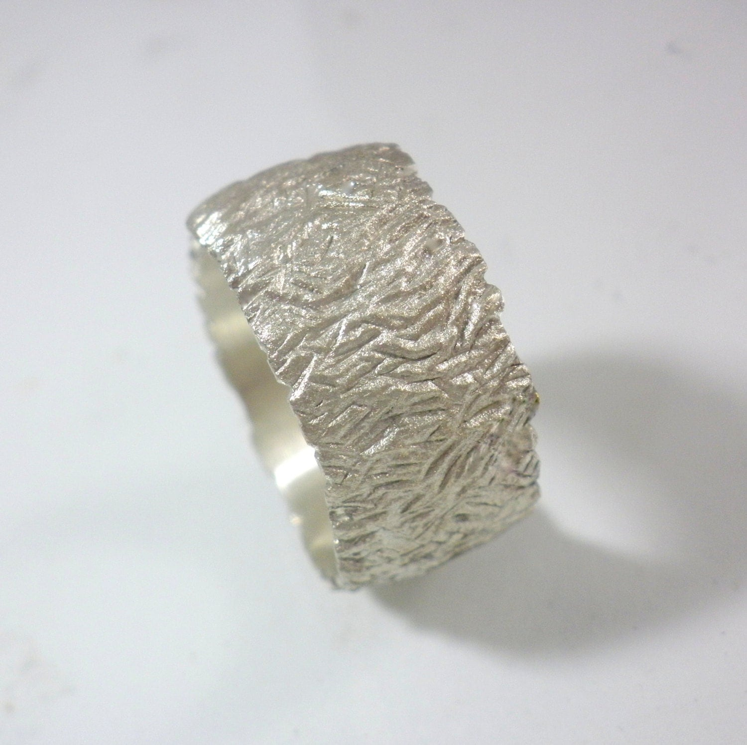 Sterling Wedding Band Women Wide Wedding Band Unique By Anvehu