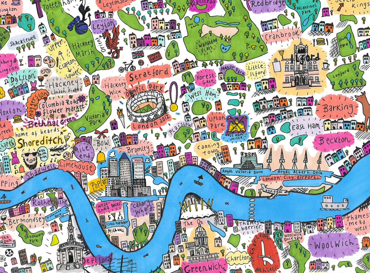 a4 illustrated map of east and south east london by. Black Bedroom Furniture Sets. Home Design Ideas