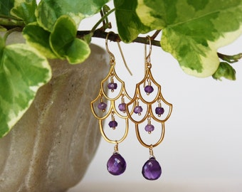 Amethyst Chandelier Earrings - 24K Vermeil Chandelier Earrings - Gemstone Earrings