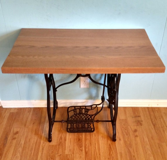 Cast iron antique sewing machine treadle table or office desk - Cast iron sewing machine table ...