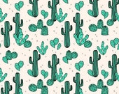Fitted Cot Sheet, Fitted Crib Sheet,  - Light Jade and Champagne Cactus  /  MADE TO ORDER