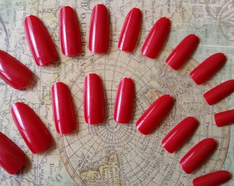 20 Fire Red Press on Nails - Glue on Nails - Artificial Nails - Fake Nails - Long Fake Nails - Round Tip nails - Red Nails