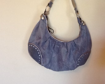 Faux Blue Suede Hobo Handbag
